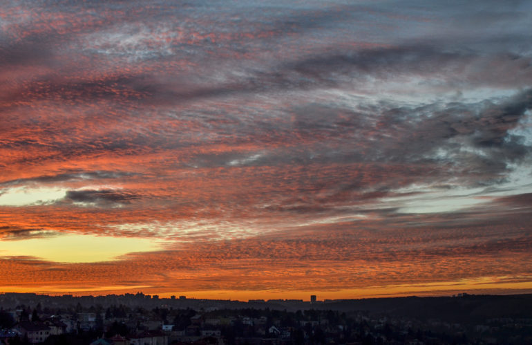 Night skyline over Prague